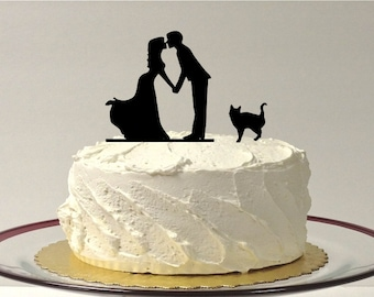 MADE In USA, Include Your Cat Silhouette Wedding Cake Topper, Silhouette Kissing Couple Cake Topper With Cat, Family of 3 Cake Topper Bride
