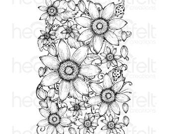 Heartfelt Creations Classic Sunflower Cling Stamp - Cling Stamp - Sunflower Stamp - Classic Sunflower Stamp Set - Sunflower Stamp - 9-026