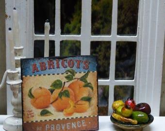 """PROVENCE APRICOTS"" Miniature wall plate - 1/12 scale - Dollhouse Miniature kitchen decor accent"