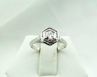 Vintage Edwardian 18K White Gold Filigree Ring With A Dazzling 1/4 Carat Round Brilliant Diamond  #18K25CT-GR2