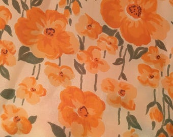 Vintage 1960's Floral Print Fabric , sheer and silky nylon.