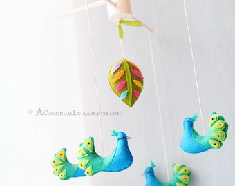 Peacock Baby Mobile, Jungle Nursery Decor, Jungle Baby Shower, Colorful Leaf, Bird Baby Mobile
