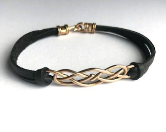 LAST ONE - Celtic Knot Leather bracelet, Bronze Irish Celtic Knot, Celtic jewelry, Outlander Bracelet, gift for woman, gift for her
