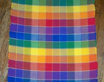 Handwoven Rag Rig - Bright Multi Blocks  (Inv.ID #02-0118)