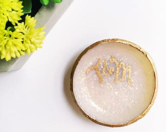 MONOGRAMMED OPAL // Polymer Clay Jewelry Dish, Ring Dish, Trinket Dish, Ring Holder, gifts for her