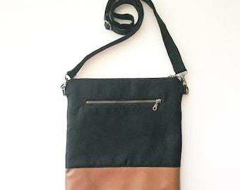 TALL MOMMA Crossbody Bag - Solid Black - Wallet Clutch - Purse - Handbag - Small handbag - All In One Purse