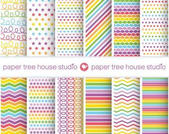Rainbow Digital Paper. Rainbow Scrapbook Paper. Rainbow Background. Multicolor Digital Paper. Rainbow Party Decorations. 12 PNG Files.