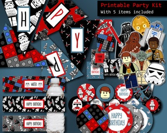 Star Wars Party Decorations, 5 ITEMS Printable Party Kit, Star Wars Banner, Star Wars Party Favors, Star Wars Birthday Party Supplies