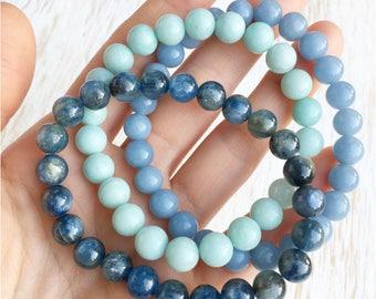 Gemstone Bracelet Set, Kyanite Bracelet, Amazonite Bracelet, Angelite Bracelet, Healing Crystal Bracelet, Stackable Bracelets Stone Bracelet