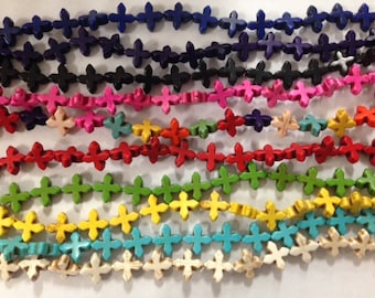 15mm howlite cross beads