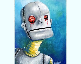 Robot Painting - Oil on wood robot with bleeding brain eyes WUT blue yellow grey small lowbrow art