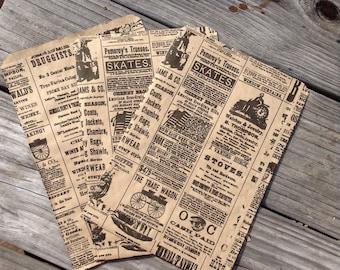 25 newspaper print bags kraft paper bags vintage newspaper bags merchandise bags packaging wedding favor bags kraft bags gift bags treat bag