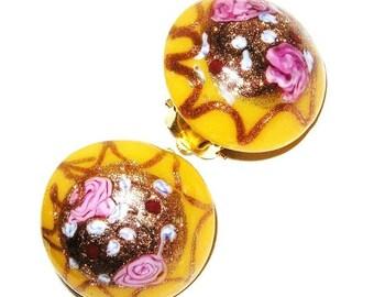 Italian Murano Glass Yellow and Pink Clip Earrings