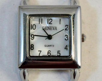 Small Square.. Mother of Pearl Ribbon Watch Face, Solid Bar, Interchangeable Silver Plated Watch Face
