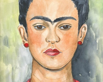 Watercolor Art Print 8x10 of an original watercolor Frida Kahlo Portrait