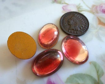 4 Vintage Givre Cranberry Pink Clear Smooth Ovals, 18 x 13mm Glass Cab Cabochon C38