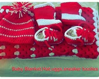Baby Blanket, Hat, Booties & Uggs Set