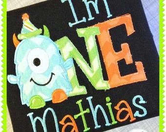 Birthday Boy Monster Shirt - First Birthday - Boys Birthday - Monster Party - I'm One - embroidered shirt - 1st Birthday -