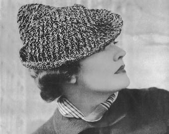 1930s Fashion Robin Hood Hat Vintage Crochet Pattern PDF