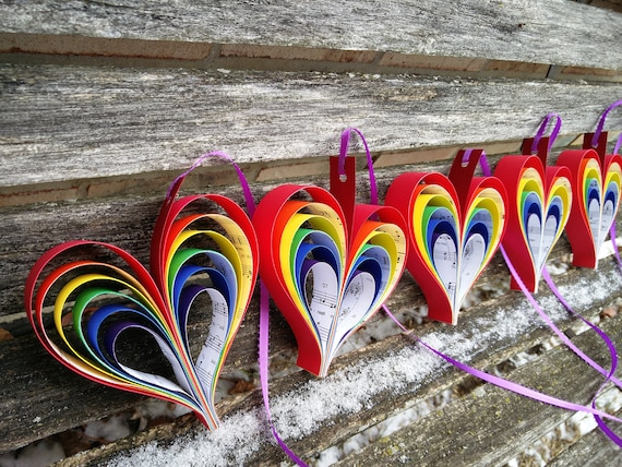 Rainbow Sheet Music Hearts. 10 Hearts. Wedding, Shower Decoration, Home Decor. Custom Orders Welcome. Any Color Available.