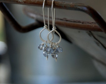 Frolic Earrings - Handmade. Paraiba Blue Quartz. Matte Sterling Silver