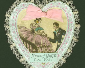 Two Old Valentine Hearts of distinction