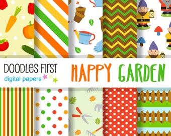 Happy Garden Digital Paper Pack Includes 10 for Scrapbooking Paper Crafts