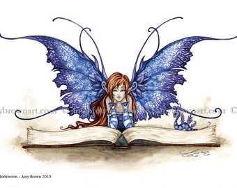 5x7 Bookworm reading fairy PRINT by Amy Brown