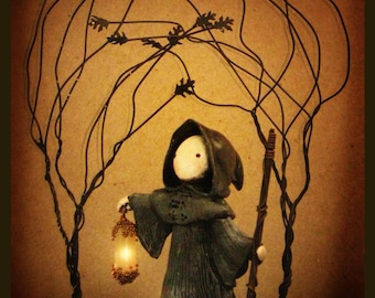 Tarot Poppet - The Hermit- Signed and Matted Print