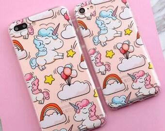 1 x Colourful Unicorn Soft TPU Phone Case for Iphone 6 6S