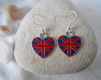 BO 410 - UNION JACK British flag heart earrings