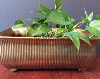 Hollywood Regency large brass footed planter