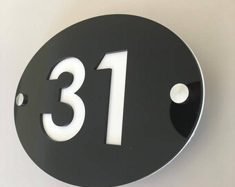 Oval House Number Sign - Several Colour Choices - Includes Chrome Fixing Kit