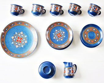 "Schwarzenbach Bavaria Germany ""Winterling"" Partial Tea Set - Western Germany Tea Set, Stoneware Tea Set, German Tea Set, Bavarian Tea Set"