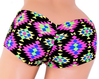 Neon Abstract Diamond Print Scrunch Butt Lo Rise Booty Shorts Adult XS Xsmall- MTCoffinz - Ready to Ship