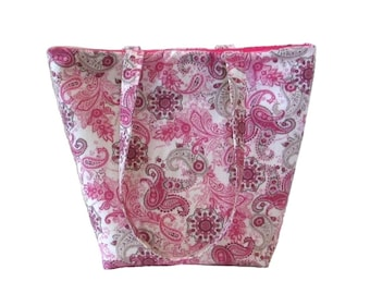 Paisley Tote Bag, Cloth Purse, Pink, Gray, Flowers, Fabric Bag, Handmade Handbag, Shoulder Bag