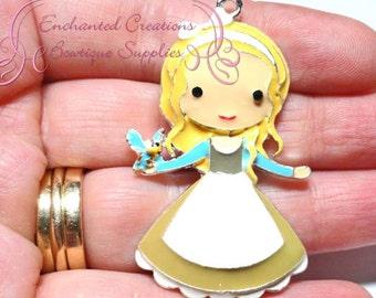 "2"" Cinderella With Bird Friend Inspired Charm, Chunky Pendant, Keychain, Bookmark, Zipper Pull, Chunky Jewelry, Purse Charm"