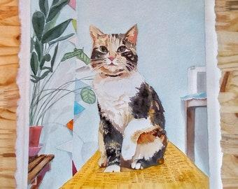 11x14 inch Watercolor Custom Portrait or Pet Portrait Painting