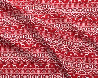 Greyhound Fabric - Italian Greyhound Fair Isle Silhouette Christmas Fabric Red By Petfriendly - Cotton Fabric by the Yard with Spoonflower