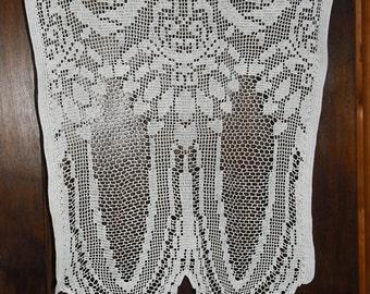 rideaux au crochet faits main - la paire - motifs fleurs