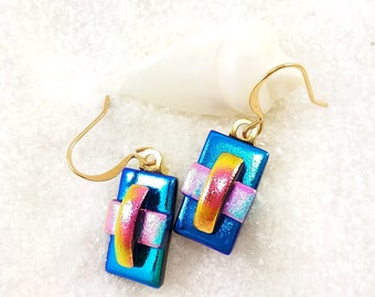 Dichroic glass earrings, fused glass jewelry, dichroic, earrings handmade, Hana Sakura, Dichroic glass art, glass fusion, artisan earrings