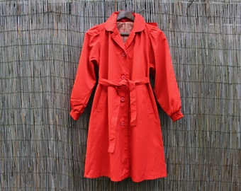 Soviet Petite Size Ladies Trench Coat, Spring Coat, Unused Vintage Russian Women Red Coat, Red Riding Hood Coat, Made in USSR