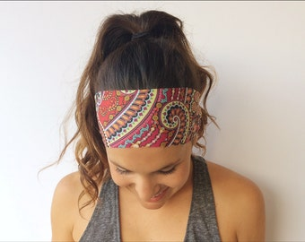Yoga Running Headband - Wild Abandon Print - Workout Headband - Fitness Wide Nonslip Headband