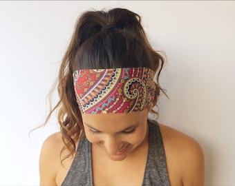Yoga Running Headband - Wild Abandon Print - Workout Headband - Fitness Wide Nonslip Headband