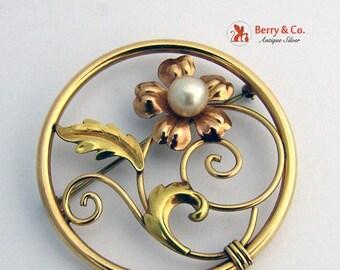SaLe! sALe! Vintage Retro Brooch Pearl Gold Filled Signed Van Dell