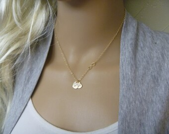 Personalize Heart Necklace - Initial Necklace - Sideways Infinity Necklace - Two Initial Necklace - Heart Charm -Couples Necklace - Femmart