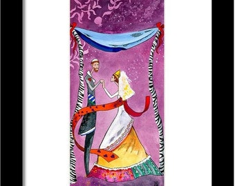 Jewish wedding gift Art PRINT Romantic Judaica wall art
