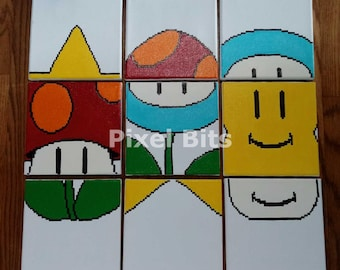 Super Mario 3 Match Game Canvas Art Hand-Painted 8x8
