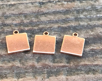 Premium Copper Stamping Blank-Small Square Jewelry Tag-Impressart 3/8 inch 18g  Metal Stamping Supplies by Metal Supply Chick-13 Pack