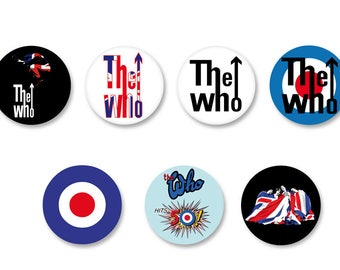 Lot Pins Ø25mm - o38mm Pinback Button Badge / Magnet o38mm The Who Rock UK